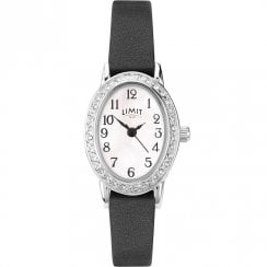Limit Easy Reader White Dial Black Leather Strap Ladies Watch 6485