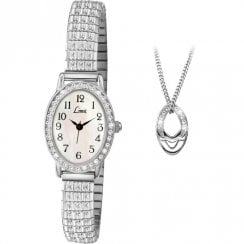 Limit Easy Reader White Dial Expander Watch and Pendant Ladies Gift Set 6029P