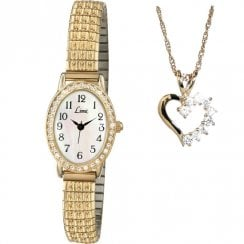 Limit Easy Reader White Dial Gold Expander Watch and Pendant Ladies Gift Set 6030P