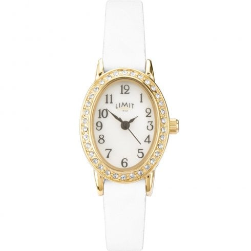 Limit Easy Reader White Dial White Leather Strap Ladies Watch 6486