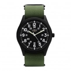 Limit Gents Black Dial Green Fabric Strap Watch 5723