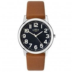 Limit Gents Black Dial Tan Faux Leather Strap Watch 5761