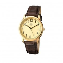 Limit Gents Champagne Dial Gold Tone Brown Strap Wristwatch 5610