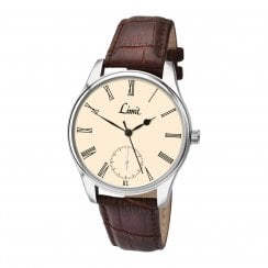 Limit Gents Cream Dial Brown Faux Leather Strap Watch 5549