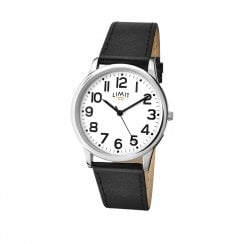 Limit Gents White Dial Black Strap Wristwatch 5608
