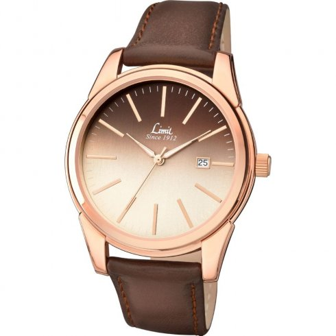 Limit gradient brown dial brown upper leather strap mens single tone watch 5508 for Gradient dial watch