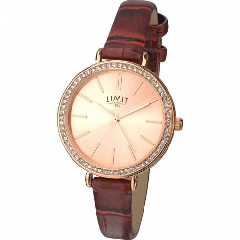 Limit Heather Rose Gold Dial Burgundy Leather Strap Ladies Watch 6373