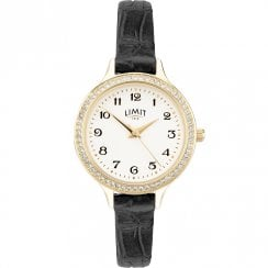 Limit Heather White Dial Black Leather Strap Ladies Watch 6488