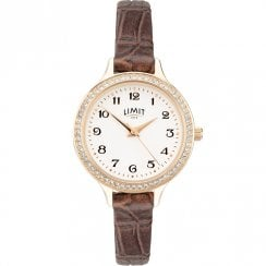Limit Heather White Dial Burgundy Leather Strap Ladies Watch 6489