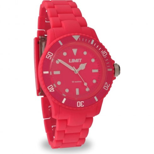 Limit Icy red dial polycarbonate bracelet Ladies watch 6766