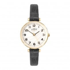 Limit Ladies Chrome Classic Mother of Pearl Dial Black Strap Ladies Watch 6494