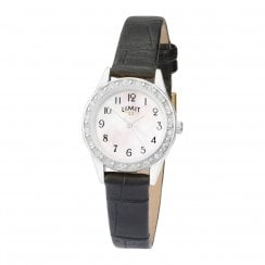 Limit Ladies Chrome Classic Mother of Pearl Stone Set Black Strap Watch 6490