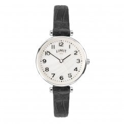 Limit Ladies Classic Mother of Pearl Dial Black Strap Ladies Watch 6493