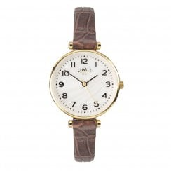 Limit Ladies Gold Classic Mother of Pearl Dial Brown Strap Ladies Watch 6495
