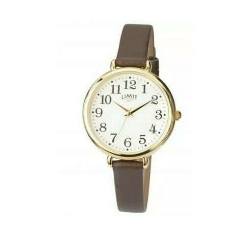 Limit Ladies Gold Tone Brown Wristband Watch 6002