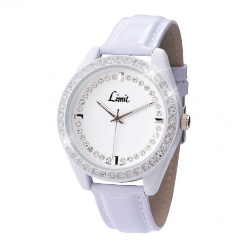 Limit Ladies Lilac Faux Leather Stone Set Wristwatch 6831