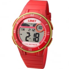 Limit Active Digital Chronograph Red Resin Strap Unisex Watch 5559