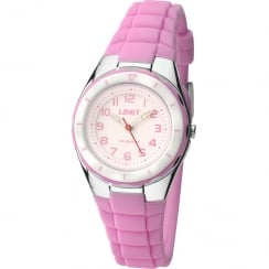 Limit Active Kids White Dial Pink Resin Strap Children Watch 5588