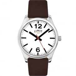 Limit Classic White Dial Brown Leather Strap Gents Watch 5629