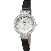 Limit Stone Set White Dial Black Fabric Strap Ladies Watch 6053
