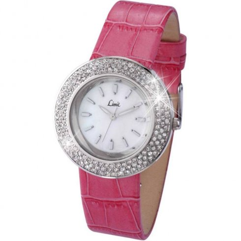 Limit Stone Set White Dial Pink Upper Leather Strap Ladies Watch 6845