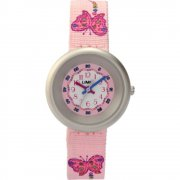 Limit White Dial Pink Butterfly Fabric Strap Children Watch 6698
