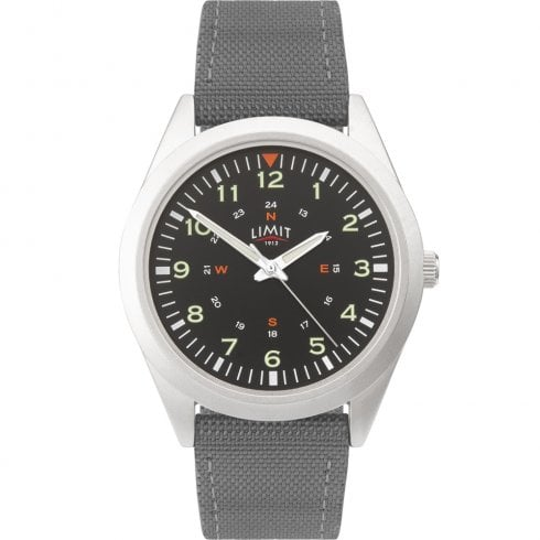 Limit Military Black Dial Grey Nylon Strap Gents Watch 5973