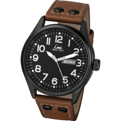 Limit Military Black Dial Tan Leather Strap Gents Watch 5492