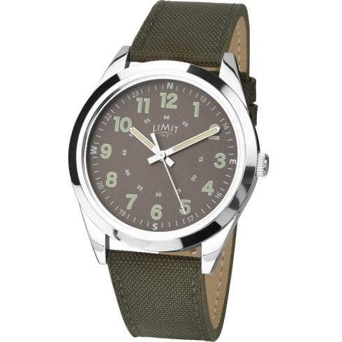 Limit Military Grey Dial Khaki Green Nylon Strap Gents Watch 5951