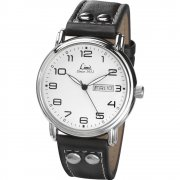 Limit Military White Dial Black Leather Strap Gents Watch 5489
