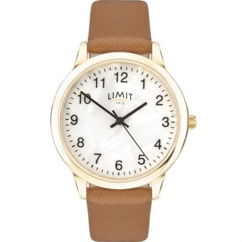 Limit Mother of Pearl Dial Tan Strap Ladies Watch 60011