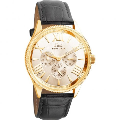 Limit Multifunction Gold Dial Black Leather Strap Gents Watch 5438