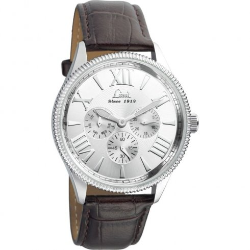 Limit Multifunction silver dial upper leather strap Mens watch 5440