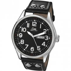 Limit Pilot Black Dial Black Leather Strap Gents Watch 5491
