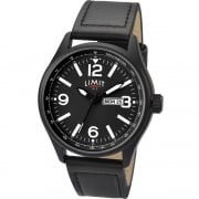 Limit Pilot Black Dial Black Strap Gents Watch 5621