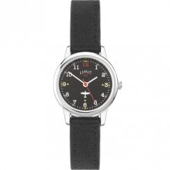 Limit Pilot Black Dial Black Strap Kids Watch 5975