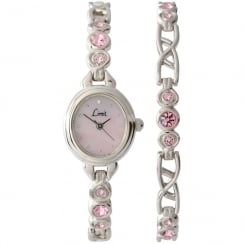 Limit Pink Stone Set Ladies Watch and Bracelet Gift Set 6635G