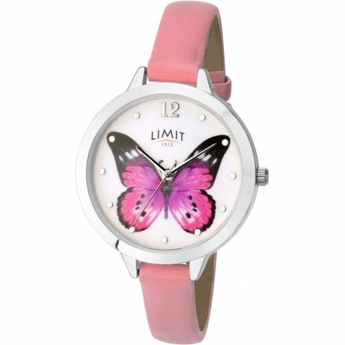 Limit Secret Garden Butterfly White Dial Pink Strap Ladies Watch 6278
