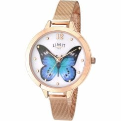 Limit Secret Garden Butterfly White Dial Rose Gold Mesh Ladies Watch 6271