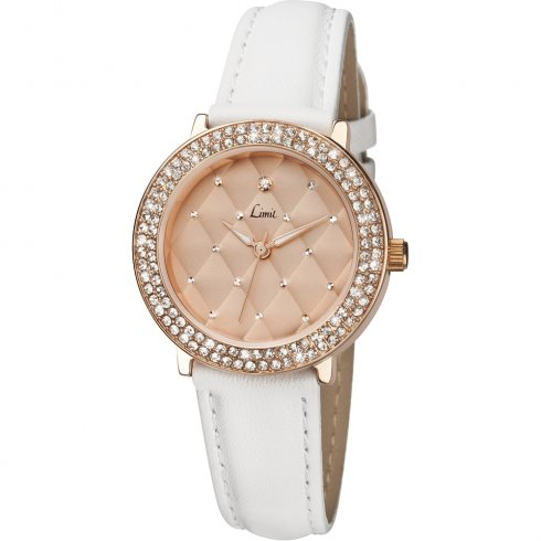 Limit Stone Set Rose Quilt Dial White Leather Strap Ladies Watch 6106