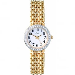 Limit Stone Set White Dial Gold Bracelet Ladies Watch 6633
