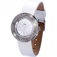 Limit Stone Set White Dial White Upper Leather Strap Ladies Watch 6844