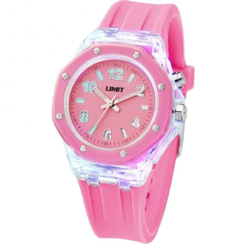 Limit Strobe Pink Dial Pink Resin Strap Ladies Watch 6897