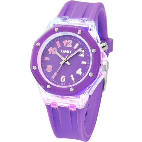 Limit Strobe purple dial resin strap Mens watch 6896