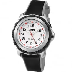 Limit White Dial Black & Grey Rubber Strap Children Watch 5597