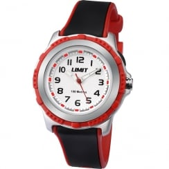 Limit White Dial Black & Red Rubber Strap Children Watch 5598