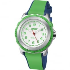 Limit White Dial Green & Blue Rubber Strap Children Watch 5602