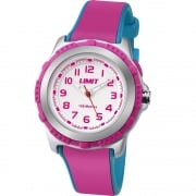 Limit White Dial Pink & Blue Rubber Strap Children Watch 5599
