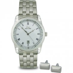 Limit White Dial Stainless Steel Bracelet Mens Watch & Cuff Links Gift Set 5293G