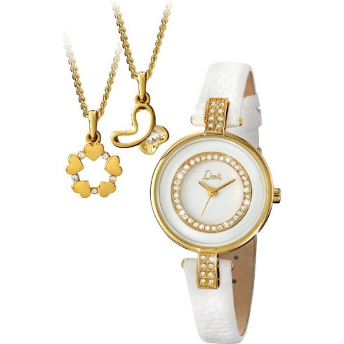 Limit White Dial White Leather Strap Ladies Watch with Gold Pendant Gift Set 6014G